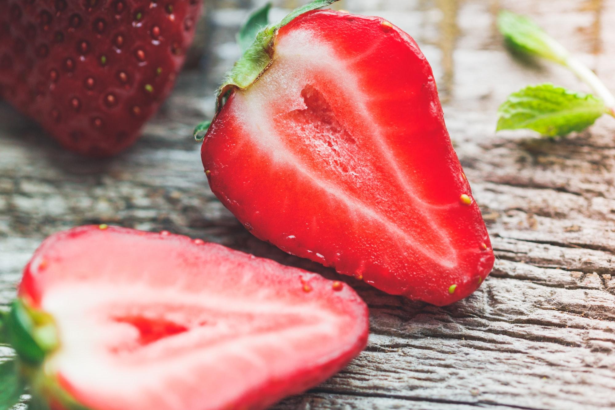 Halves of ripe strawberry